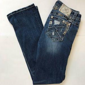 Miss Me Signature Bootcut Distressed Denim Jeans